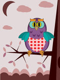 Card with owls. Card with two owls in the night Royalty Free Stock Photos