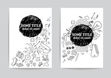 Card or page template. Hand drawn doodles. Card or page template with hand drawn doodles Royalty Free Stock Image
