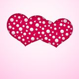 Card with a pair of hearts made from pearls on a pink background Symbol of love and marriage template for greeting card banner stock illustration