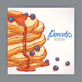 Card with pancakes with blueberry Royalty Free Stock Image