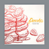 Card of pancakes with strawberry Royalty Free Stock Images