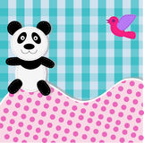 Card with panda bear and bird Stock Images