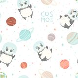 Card with pandas astronauts in helmets, stars and lettering text. Seamless childish pattern with cute pandas astronauts in helmets. Creative nursery background Royalty Free Stock Photography