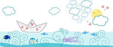 Card with paper boat and fish Royalty Free Stock Photos