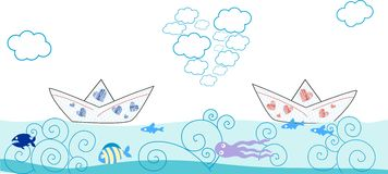 Card with paper boat and fish Stock Photography