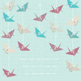 Card with Paper Cranes Royalty Free Stock Images