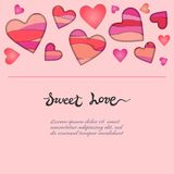 Card with Paper Cut Hearts and Sweet Love hand drawn lettering on pink background. Royalty Free Stock Photos