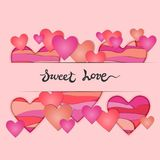 Card with Paper Cut Hearts and Sweet Love hand drawn lettering on pink background. Stock Photography