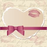 Card with paper heart Stock Images