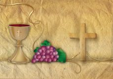 Card Christian symbols with 3d chalice and grapes with golden ornaments vector illustration