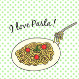 Card with pasta, in a retro style Royalty Free Stock Images