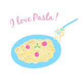 Card with pasta on a white background Stock Photos