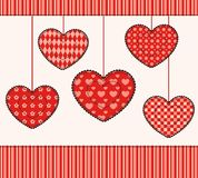 Card with patchwork hearts. Royalty Free Stock Images