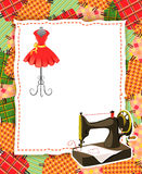 Card with patchwork and sewing elements Royalty Free Stock Image