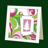 Card with pattern and Christmas tree Royalty Free Stock Photos