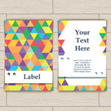 Card with Pattern of Colorful Lozenges Royalty Free Stock Photo