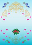 Card. Patterns, flowers, hearts, Stock Photography