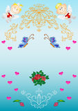 Card. Patterns, flowers, hearts, angels Stock Photo