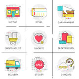 Card Payment Banking Online Shopping Delivery Favorite Website Icon Set. Vector Illustration royalty free illustration