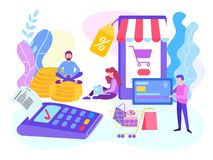 Card payment POS terminal. Online shopping concept, paying by ca. Rd using a mobile phone. Vector illustration for web and social media royalty free illustration