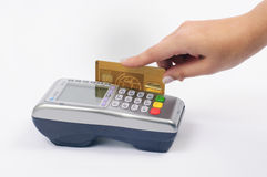 Card Payment. Moment of payment by credit card Royalty Free Stock Photo