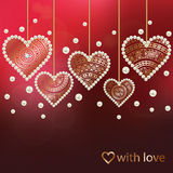 Card with pearls and luxury golden hearts Royalty Free Stock Photo
