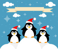 Card with penguins. A  congratulation Royalty Free Stock Image