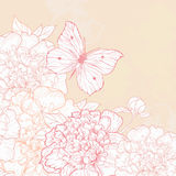 Card with peony and butterfly. Vector greeting card with peony and butterfly in vintage style royalty free illustration
