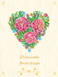 Card with peony flowers Royalty Free Stock Image