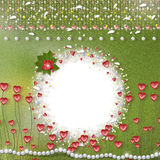 Card for photo with hearts. Pearls and feathers Stock Photo