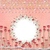 Card for photo with hearts. Pearls and feathers Royalty Free Stock Photography