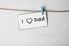 Card phrase `I love dad` for Father`s day. Card with phrase `I love dad` for Father`s day Stock Photo