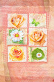 Card with pictures of flowers in frameworks and handwritten text Stock Photography