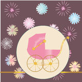 Card with a pink carriage Stock Photography