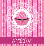 Card with pink cupcake Stock Photos