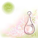 Card with pink glass bottle flower oil. Card with glass bottle flower oil, flowers, buds and leaves and round frame for the text. Vector hand-drawn illustration Royalty Free Stock Photo