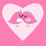 Card with pink heart and birds. Card with pink heart and a birds Stock Photo