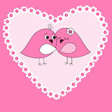 Card with pink heart and birds Stock Photos