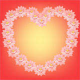 Card with pink lotus flowers in the shape of a heart. vector. Card with pink lotus flowers in the shape of a heart vector illustration Royalty Free Stock Image