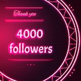 Card with pink neon text Thank you four thousand 4000 followers. Card with pink neon text. Thank You message to four thousand 4000 followers. Words in arc neon royalty free stock images