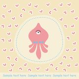 Card with pink octopus Royalty Free Stock Photography