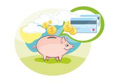 Card with pink piggy bank and coins Stock Image
