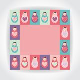 Card pink, purple, orange, teal Russian dolls matryoshka with heart. Vector Royalty Free Stock Photo