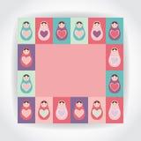 Card pink, purple, orange, teal Russian dolls matryoshka with heart. Vector