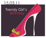 Card with pink trendy shoe Stock Image
