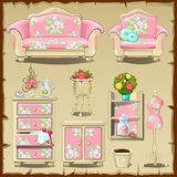 Card with pink upholstered interiors objects Stock Images