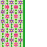 Card with pink and violet flowers and green leaves spring effect Royalty Free Stock Image
