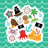 Card pirate. Cute party invitation animals design. Vector Stock Image
