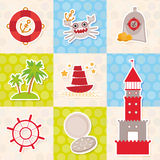 Card pirate design. Cute party invitation colorful background seamless pattern. lighthouse compass crab palm treasure ship anchor. Royalty Free Stock Images