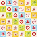 Card pirate design lighthouse compass crab palm treasure ship anchor. Cute party invitation colorful background seamless pattern. Royalty Free Stock Images